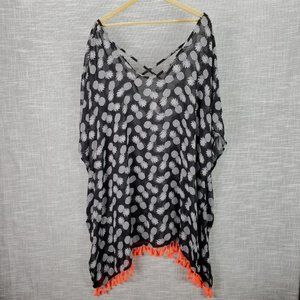Pineapple Print Swimsuit Cover Up 2X w Tassels